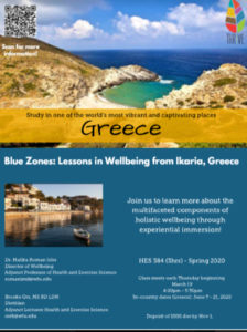 Flyer for Blue Zones immersion course in Greece