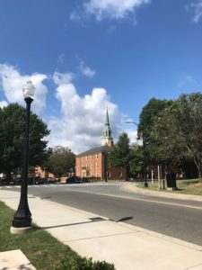 Wait Chapel peeking out over Poteat Hall
