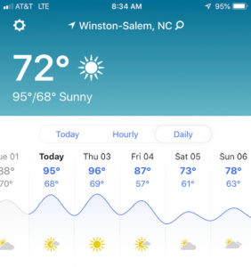 95 degrees today, 96 tomorrow? Get a grip, Mother Nature!