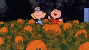 Linus and Lucy await the Great Pumpkin