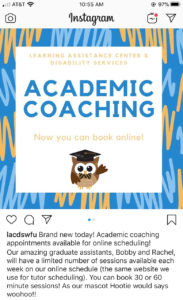 Learning Assistance Center academic coaching sessions