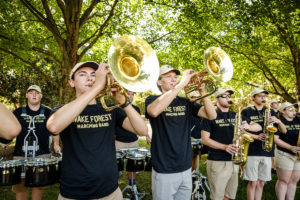 The Wake Forest Class of 2023 moves into their first-year residence halls on South Campus on Wednesday, August 21, 2019.  The Marching Band, the Spirit of the Old Gold and Black, performs on South Campus.