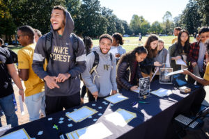 Wake Forest students identify what makes them unique, at the Unique Deac event sponsored by Athletics and the Office of Diversity and Inclusion, on Manchester Plaza on Thursday, October 24, 2019.