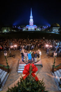 lighting of the quad candleslighting of the quad candles - shot from the Reynolda Hall balcony