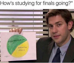Joke - Jim from the office with a pie chart on procrastination