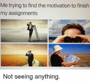 joke - student looking for motivation