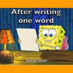 joke - student writes one word and takes a break