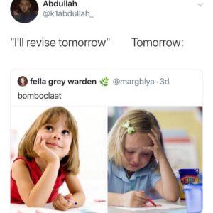 joke that I will revise tomorrow