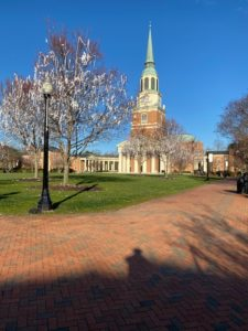 the Quad the morning after the double overtime win over #7 Duke