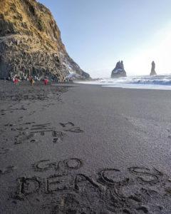 GO DEACS in the black sand of Icelan