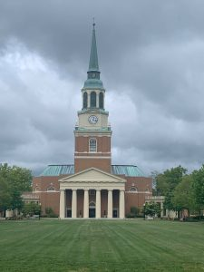 a view of Wait Chapel from a Faculty Drive resident on their morning walk