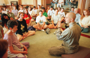 A Buddhist Monk talks with WFU students about meditation during a Year of Religion Event. ©2002 Wake Forest University Office of Creative Services. Photo by Ken Bennett