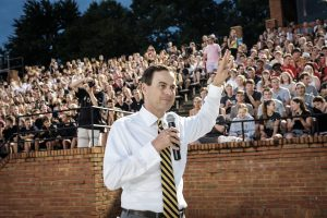 New Wake Forest students participate in the Deacon Olympics orientation event on Thursday, August 22, 2019. Athletic Director John Currie fires up the students during the opening ceremonies.