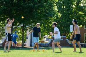 Wake Forest students play spikeball, or roundnet, on Hearn Plaza on Monday, May 4, 2020. The students are some of the few remaining on campus during the COVID-19 pandemic.