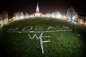 Wake Forest students roll the quad after a double-overtime victory over Duke on Tuesday, February 25, 2020.