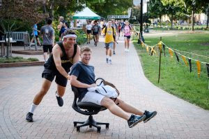 Members of the Wake Forest community raise money for cancer research in the annual Hit the Bricks for Brian event on Hearn Plaza on Thursday, September 26, 2019. The event is named for Brian Piccolo, and teams run laps on the quad to raise money.