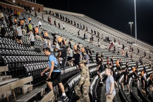 Wake Forest hosts a memorial stair climb to honor the anniversay of 9/11 at BB&T Field on Wednesday, September 11, 2019. Members of the joint ROTC program with Salem College and Winston-Salem State University join local first responders, athletic teams, and local citizens to climb 2996 stairs in honor of the victims.