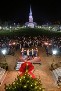 Members of the Wake Forest community celebrate the Lighting of the Quad ceremony on Hearn Plaza on Tuesday, December 3, 2019.