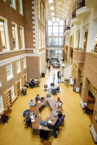 Wake Forest students are already crowding the atrium of the Z. Smith Reynolds Library on the first day of the Spring 2020 semester, Monday, January 13, 2020.