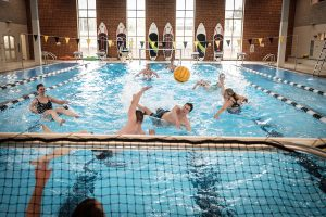 Members of the Wake Forest community attend the opening of phase 3 of the Reynolds Gym renovation on Wednesday, March 28, 2018. A tough water polo match in the new pool.