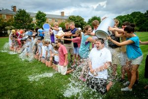 Student leaders of the Wake Forest pre-orientation Deacon Camp take the ALS Ice Bucket Challenge on Hearn Plaza on Tuesday, August 19, 2014. The freshmen attending the camp do the honors with the ice water.