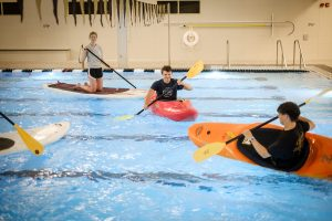 Wake Forest students play in the new pool in the renovated Reynolds Gym on Thursday, April 26, 2018.