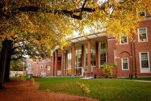 Farrell Hall on the Wake Forest campus on a cool fall morning on Saturday, October 31, 2015.