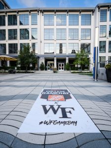 The ESPN College Gameday logo is applied to the sidewalk in front of Wake Downtown as Wake Forest prepares to host #1 Clemson, in downtown Winston-Salem on Wednesday, September 9, 2020