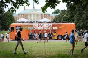 Wake Forest students line up to take selfies in front of the ESPN College Gameday tour bus on south campus, on Thursday, September 10, 2020. College Gameday will broadcast from Truist Field on Saturday.