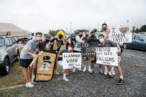 Wake Forest fans gather on a drizzly morning to watch the ESPN College Gameday broadcast on the big screen at the drive-in theatre in the Winston-Salem fairgrounds on Saturday, September 12, 2020.