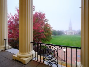 Fog envelops Hearn Plaza, on the campus of Wake Forest University, Tuesday, October 13, 2020.