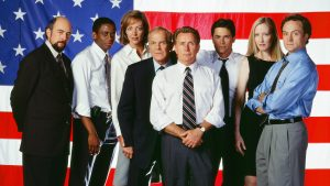 THE WEST WING -- Season 2 -- Pictured: (l-r) Richard Schiff as Toby Ziegler, Dule Hill as Charlie Young, Allison Janney as Claudida Jean 'C.J.' Cregg, John Spencer as Leo McGarry, Martin Sheen as President Josiah 'Jed' Bartlet, Rob Lowe as Sam Seaborn, Janel Maloney as Donna Moss, Bradley Whitford as Josh Lyman