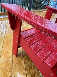 ice on adirondack chair