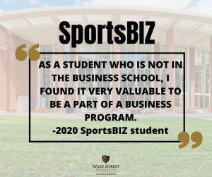SportsBIZ testimonial quote - as a student who is not in the business school. I found it very valuable to be part of a business program