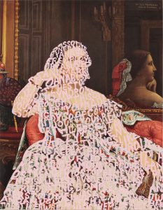"""The painting """"Women Words (Ingres #3)"""" by Betty Tompkins"""