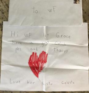 Celeste's letter to her big sister