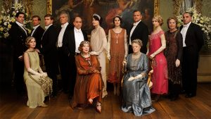 Downton Abbey promotional photo in evening dress