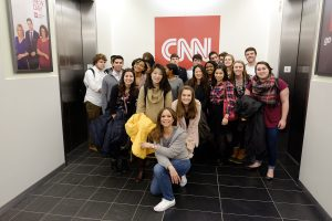 Wake Forest students from the Wake the Vote project visit media studios in New York City on Sunday, February 7, 2016. Melissa Harris Perry visits the CNN studios with the class.