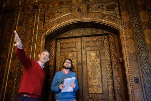Wake Forest history professor Charles Wilkins and junior history major Reid Simpson ('20) work on a research project to document the Persian Room at Graylyn conference center on the Wake Forest campus, on Monday, November 12, 2018.