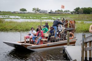 Wake Forest students travel to Florida to study birds in biology professor Dave Andersons class over spring break 2020. The second half of the BIO 255 class depart for an airboat tour on Lake Kissimmee on Monday, March 9, 2020.