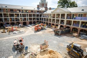 Construction continues on phase one of the renovation of Poteat Residence Hall on the campus of Wake Forest University on Monday, June 20, 2016.