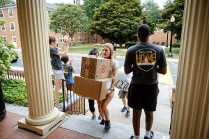 The Wake Forest Class of 2023 moves into their first-year residence halls on South Campus on Wednesday, August 21, 2019.
