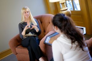 Wake Forest admissions officer Dawn Calhoun holds a mock interview session in the Byrum Welcome Center on Monday, November 3, 2014.