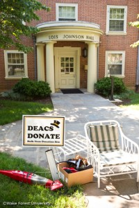 Tyler Pruitt ('11) and Anqi Zou ('12) demonstrate the Deacs Donate program outside Johnson Residence on Monday, June 14, 2010. The program collected household goods for donation as students moved out of their rooms at the end of the spring semester.