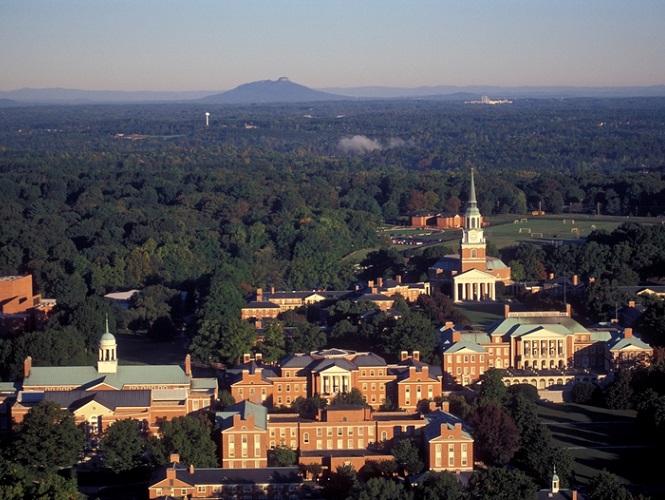 1995 aerial view of WFU campus