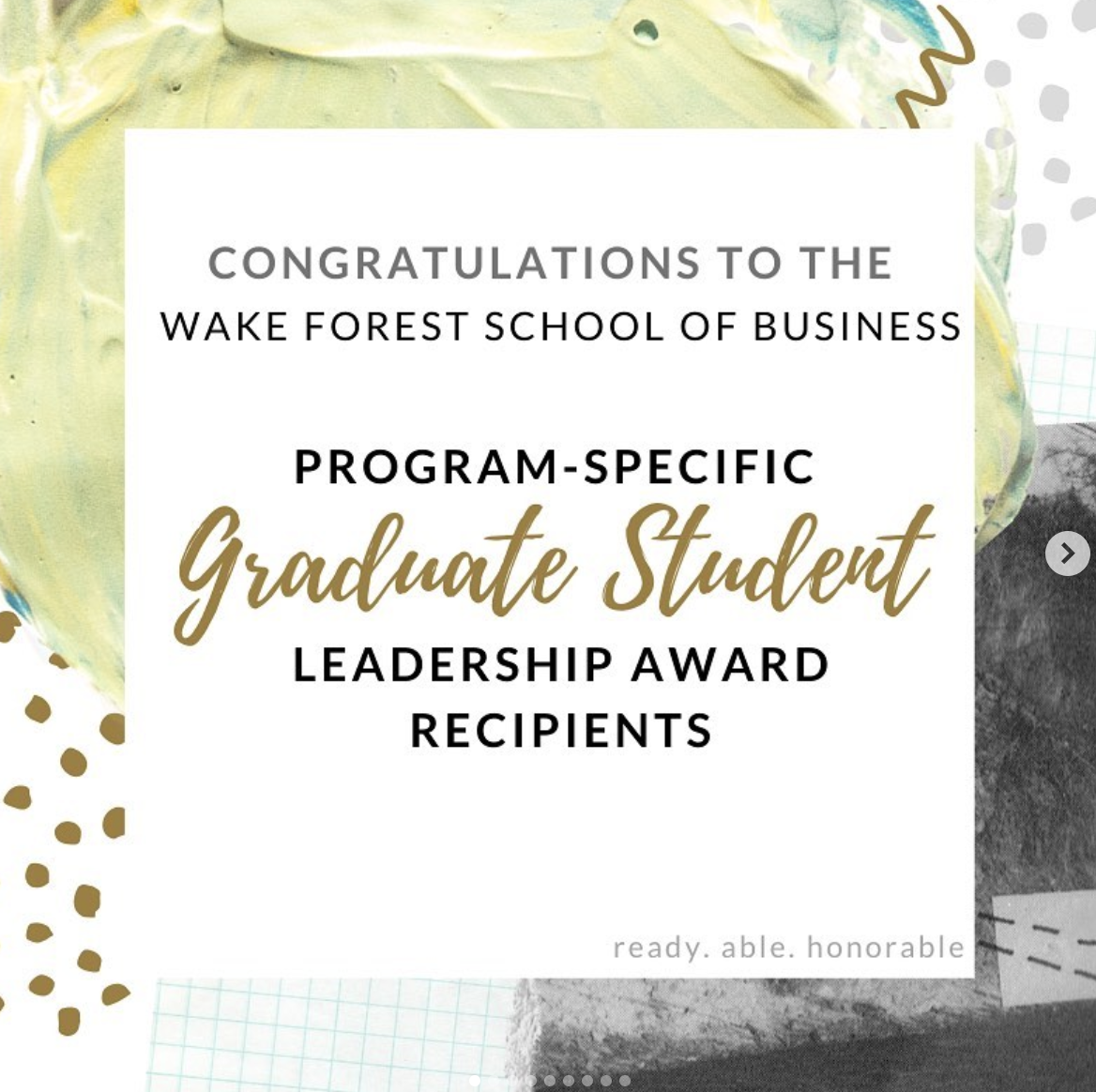 School of Business Graduate School Leadership Award