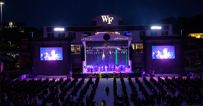 Wake Forest University holds a celebration for the Class of 2021 at Truist Field on Sunday, May 16, 2021.