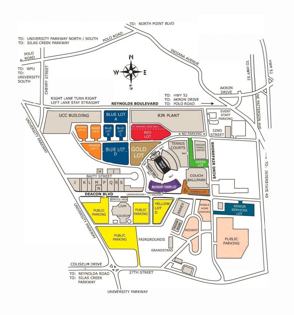 Truist Field Parking Map