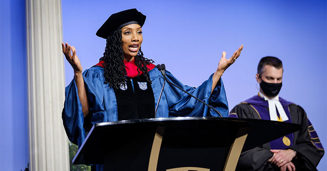 Wake Forest University holds the third of four 2021 Commencement Diploma Ceremonies