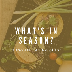 "Table of tacos with title ""What's in season?"""